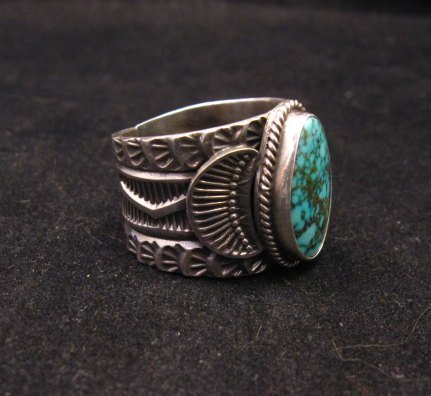 Image 1 of Wide Navajo Native American Sunshine Reeves Old Pawn Style Turquoise Ring sz10