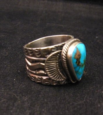 Image 1 of Navajo Native American Sunshine Reeves Kingman Turquoise Ring sz9-1/2