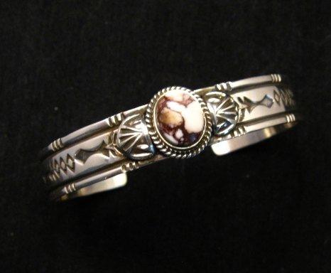 Image 6 of Narrow Navajo Wild Horse Sterling Silver Bracelet, Darrell Cadman