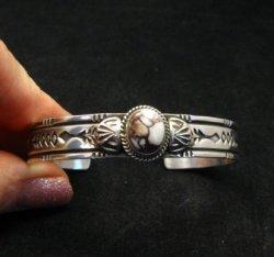 Narrow Navajo Wild Horse Sterling Silver Bracelet, Darrell Cadman