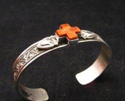 Navajo Spiny Oyster Cross Old Pawn Style Silver Bracelet, Darrell Cadman
