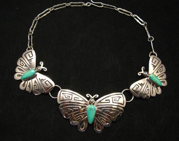 Image 0 of Everett Mary Teller Turquoise Sterling Silver Overlay Butterfly Necklace