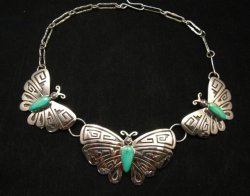 Everett Mary Teller Turquoise Sterling Silver Overlay Butterfly Necklace