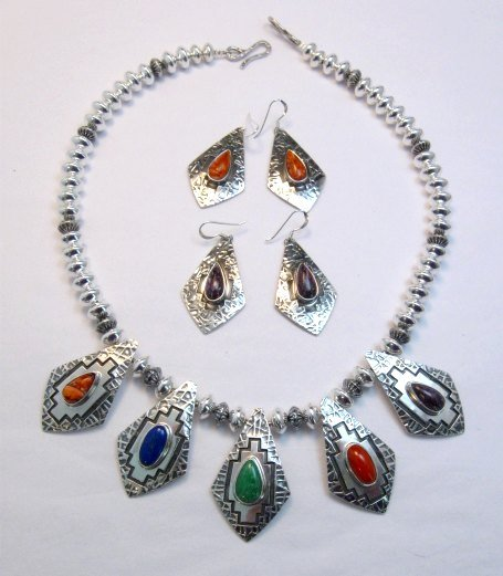 Image 0 of One of a Kind Navajo Multigem Hammered Silver Bead Necklace, Everett Mary Teller