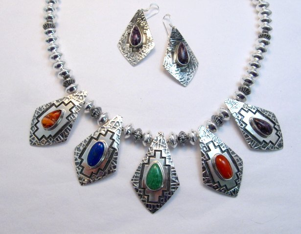 Image 6 of One of a Kind Navajo Multigem Hammered Silver Bead Necklace, Everett Mary Teller