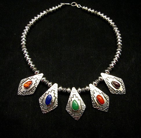 Image 1 of One of a Kind Navajo Multigem Hammered Silver Bead Necklace, Everett Mary Teller