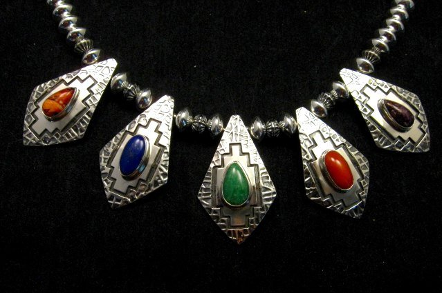 Image 10 of One of a Kind Navajo Multigem Hammered Silver Bead Necklace, Everett Mary Teller