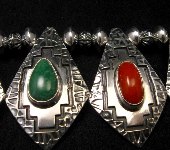 Image 12 of One of a Kind Navajo Multigem Hammered Silver Bead Necklace, Everett Mary Teller