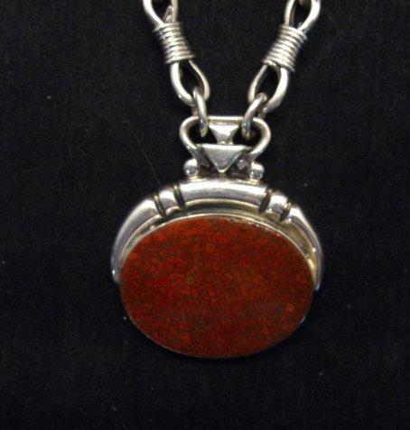 Image 1 of Vintage Navajo Dinosaur Bone Sterling Silver Necklace, Orville Tsinnie