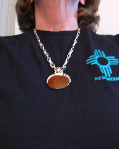 Image 8 of Vintage Navajo Dinosaur Bone Sterling Silver Necklace, Orville Tsinnie