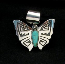 Everett Mary Teller Turquoise Sterling Silver Overlay Butterfly Pendant