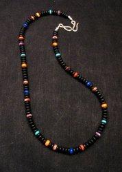 Everett & Mary Teller Navajo Black Obsidian Bead Necklace