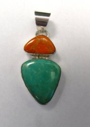 Navajo 2-stone Turquoise Spiny Oyster Silver Pendant, Everett Mary Teller