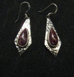 Navajo Everett & Mary Teller Purple Spiny Oyster Hammered Silver Earrings