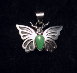 Everett and Mary Teller Kingman Turquoise Sterling Silver Butterfly Pendant