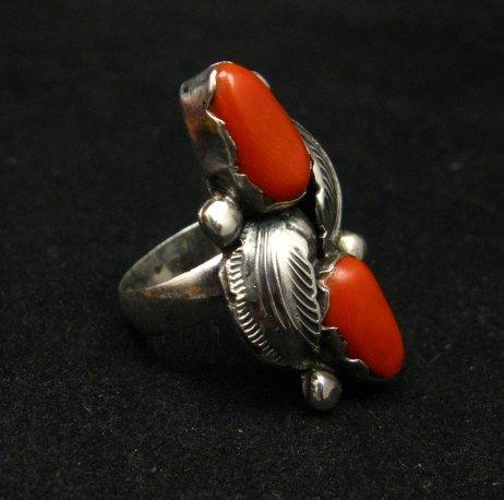 Image 1 of Vintage Zuni 2-stone Coral Silver Ring, Carmelita Simplicio, sz6-1/2