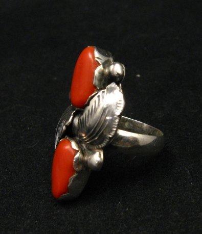 Image 2 of Vintage Zuni 2-stone Coral Silver Ring, Carmelita Simplicio, sz6-1/2