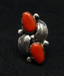 Vintage Zuni 2-stone Coral Silver Ring, Carmelita Simplicio, sz6-1/2
