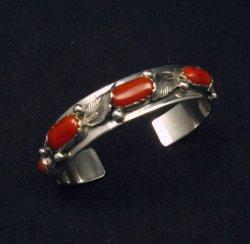Vintage Zuni 5-stone Coral Silver Bracelet, Carmelita Simplicio