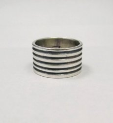 Navajo Ribbed Sterling Silver Band Ring, Travis EMT Teller sz7