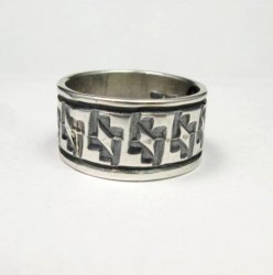 Navajo Hand Stamped Sterling Silver Band Ring, Travis EMT Teller sz9