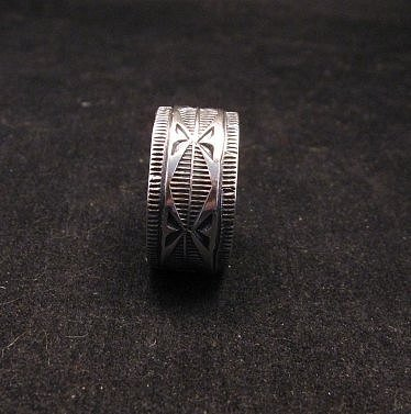 Image 1 of Navajo Sash Belt Design Silver Band Ring, Travis EMT Teller sz10-1/2