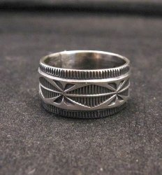 Navajo Sash Belt Design Silver Band Ring, Travis EMT Teller sz10-1/2