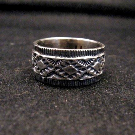 Image 0 of Navajo Hand Made Stamped Silver Band Ring, Travis EMT Teller sz11