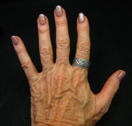 Image 2 of Navajo Hand Made Stamped Silver Band Ring, Travis EMT Teller sz11