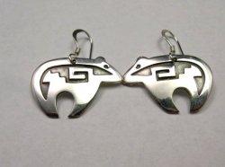 Navajo Sterling Silver Heartline Bear Earrings, Everett & Mary Teller