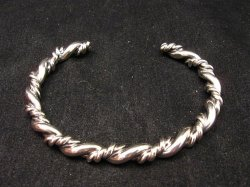 Navajo Native American Double Twisted Silver Bracelet, Travis Teller EMT