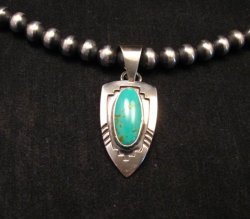 Kingman Turquoise Navajo Silver Shadowbox Pendant, Everett & Mary Teller