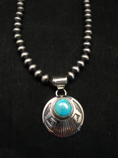 navajo circle silver overlay turquoise navajo pendant everett
