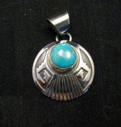 Navajo Circle Silver Overlay Turquoise Navajo Pendant, Everett & Mary Teller