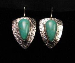 Navajo Kingman Turquoise Hammered Silver Earrings, Everett & Mary Teller