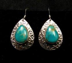 Navajo Turquoise Hammered Sterling Silver Earrings, Everett & Mary Teller