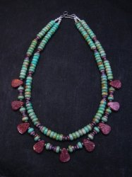 Navajo Turquoise Purple Spiny Oyster Bead Necklace by Everett & Mary Teller