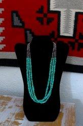 Everett & Mary Teller Navajo Fox Turquoise 3-Strand Necklace