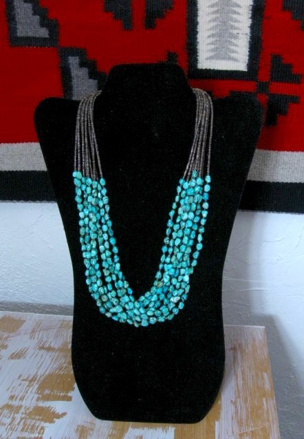 Image 0 of Everett & Mary Teller Navajo Natural Kingman Turquoise 9-Strand Necklace
