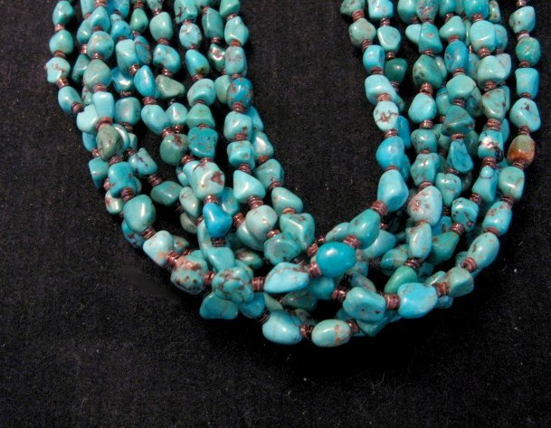 Image 2 of Everett & Mary Teller Navajo Natural Kingman Turquoise 9-Strand Necklace