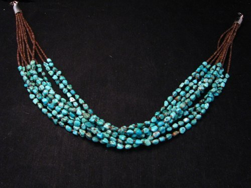 Image 3 of Everett & Mary Teller Navajo Natural Kingman Turquoise 9-Strand Necklace