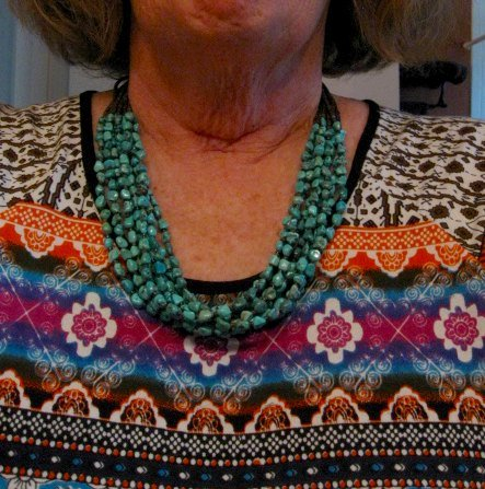 Image 4 of Everett & Mary Teller Navajo Natural Kingman Turquoise 9-Strand Necklace