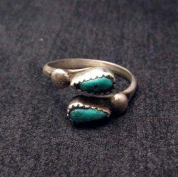 Vintage Southwestern Turquoise Wraparound Silver Ring sz5 to sz8-1/2