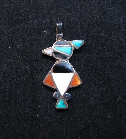 Image 0 of Vintage Native American Zuni Inlay Thunderbird Pendant / Charm