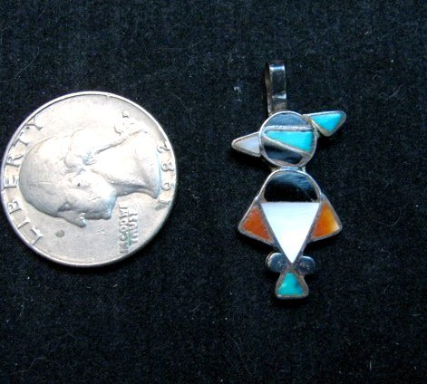 Image 1 of Vintage Native American Zuni Inlay Thunderbird Pendant / Charm