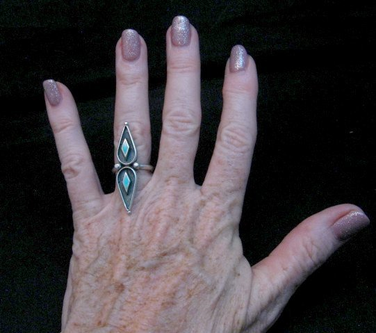 Image 1 of Long Vintage Native American Turquoise Silver Ring sz6 and sz7