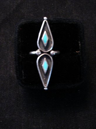 Image 0 of Long Vintage Native American Turquoise Silver Ring sz6 and sz7