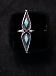 Long Vintage Native American Turquoise Silver Ring sz6 and sz7