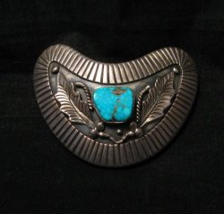 Vintage Navajo Native American Silver Turquoise Hair Clip or Collar Clip