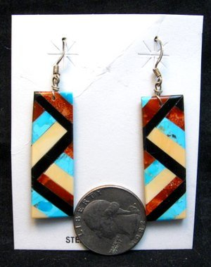 Image 1 of Santo Domingo Multi-stone Inlaid Earrings, Chaslyn Crespin